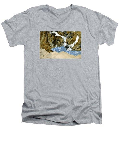 Bulldog Love Forever  Men's V-Neck T-Shirt by Lehua Pekelo-Stearns