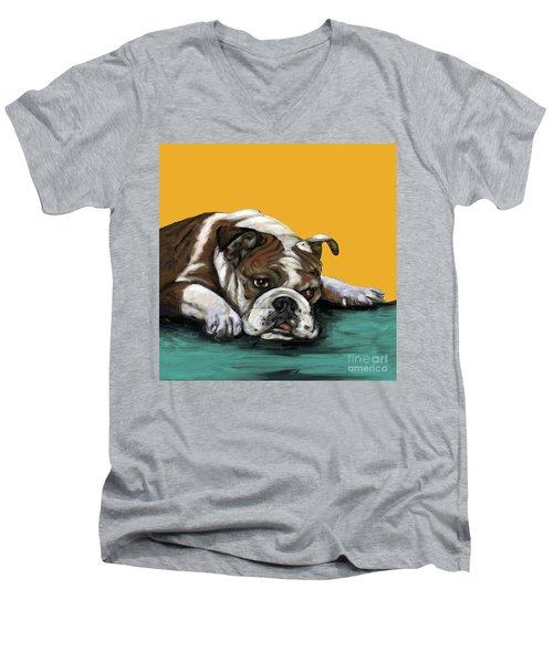 Bulldog On Yellow Men's V-Neck T-Shirt