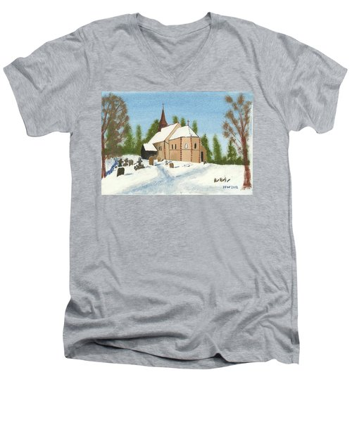 Men's V-Neck T-Shirt featuring the painting Bulley Church by John Williams