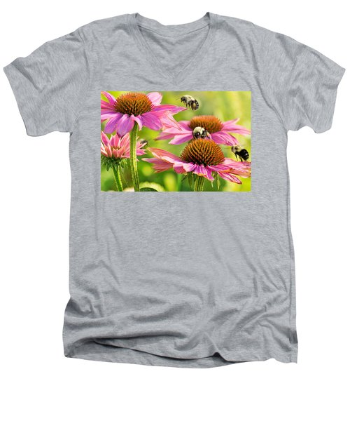 Bumbling Bees Men's V-Neck T-Shirt by Bill Pevlor