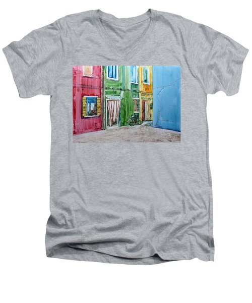Men's V-Neck T-Shirt featuring the painting Burano by Anna Ruzsan