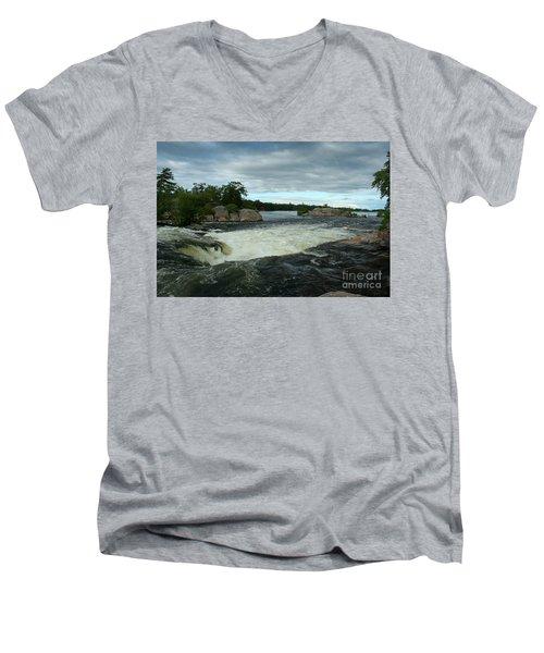 Men's V-Neck T-Shirt featuring the photograph Burleigh Falls by Barbara McMahon