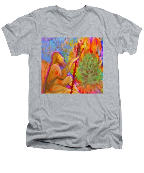 Burning Bush Of Yhwh Men's V-Neck T-Shirt