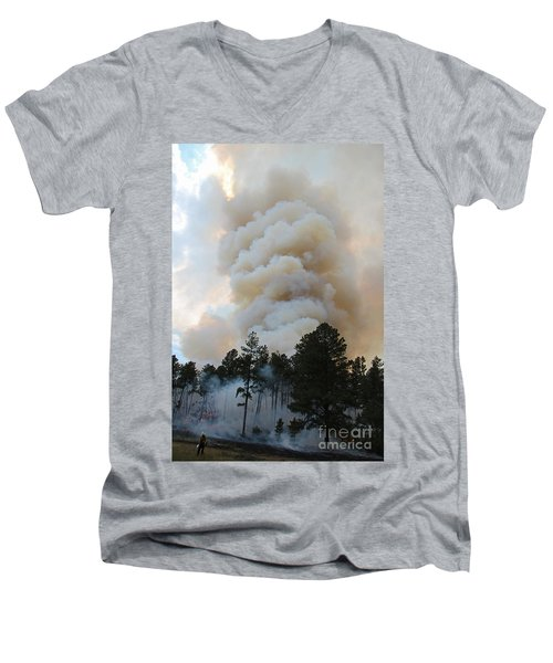 Men's V-Neck T-Shirt featuring the photograph Burnout Near Song Dog Road by Bill Gabbert