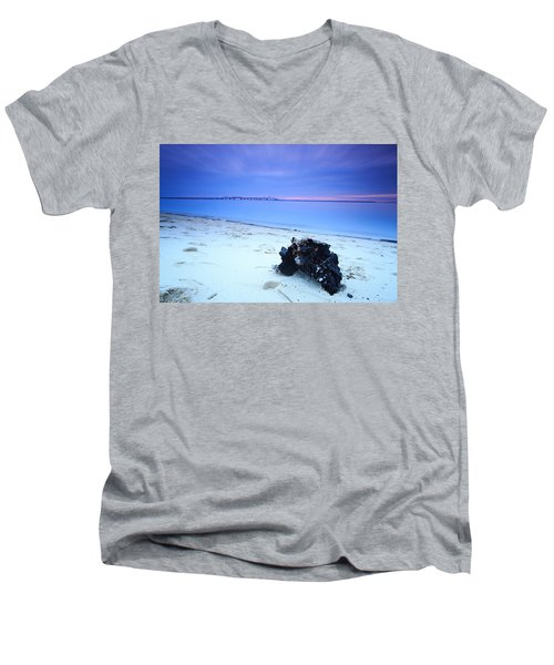 Burnt Driftwood Sunset Men's V-Neck T-Shirt by Jennifer Casey
