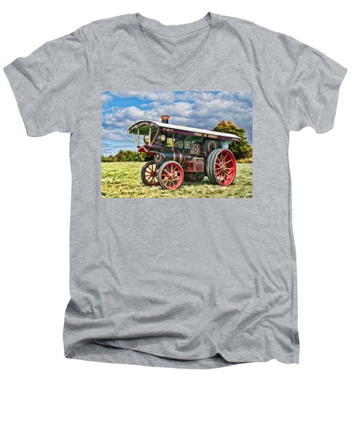 Burrell Showmans Engine Men's V-Neck T-Shirt