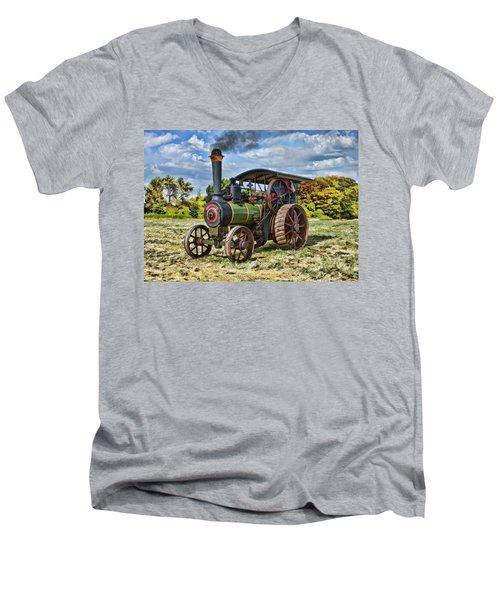 Burrell Steam Engine  Men's V-Neck T-Shirt