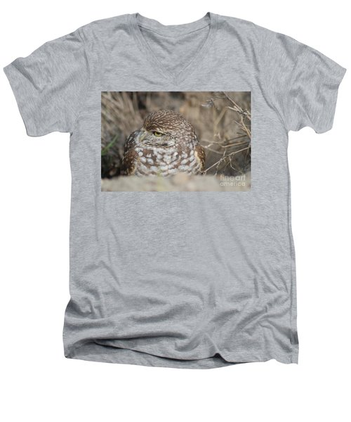 Men's V-Neck T-Shirt featuring the photograph Burrowing Owl by Oksana Semenchenko