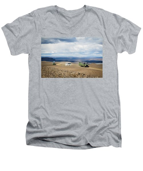 Men's V-Neck T-Shirt featuring the photograph Buses Of Landmannalaugar by Peta Thames