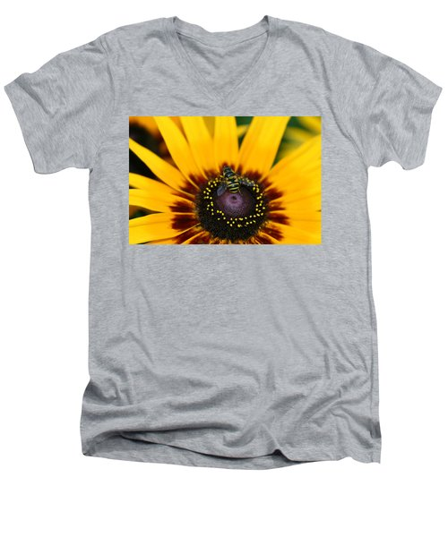 Men's V-Neck T-Shirt featuring the photograph Busy Bee by Denyse Duhaime