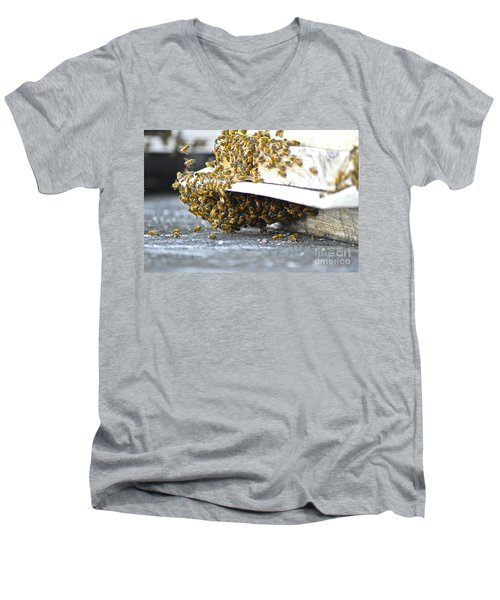 Men's V-Neck T-Shirt featuring the painting Busy Bees by Laura Forde