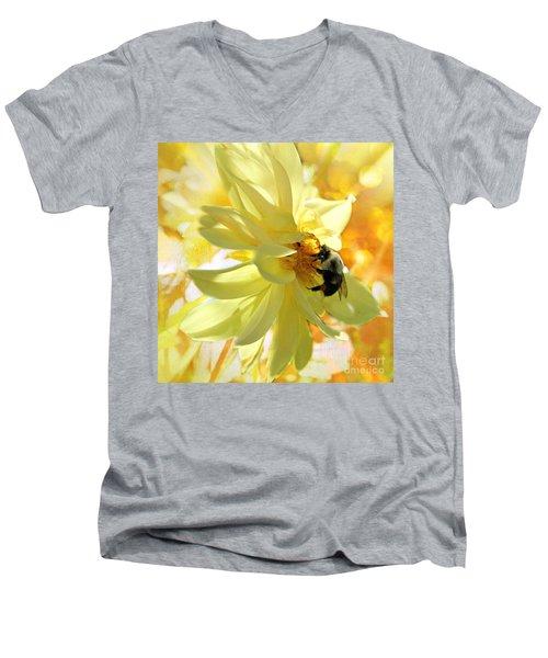 Busy Bumble Bee Men's V-Neck T-Shirt by Judy Palkimas