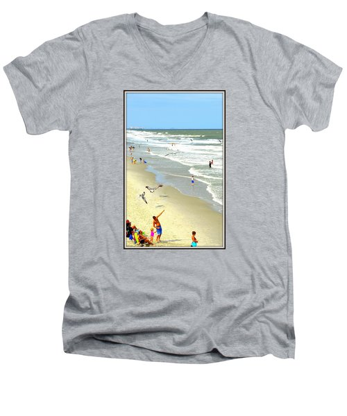 But Daddy Why Cant I Feed The Birds Men's V-Neck T-Shirt by Kathy Barney