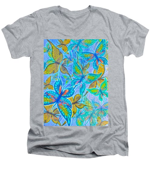 Men's V-Neck T-Shirt featuring the mixed media Butterflies On Blue by Teresa Ascone
