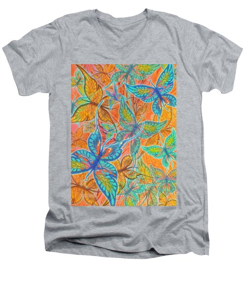 Men's V-Neck T-Shirt featuring the painting Butterflies On Tangerine by Teresa Ascone