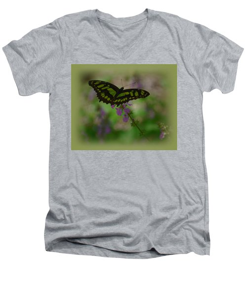 Men's V-Neck T-Shirt featuring the photograph Butterfly 4 by Leticia Latocki