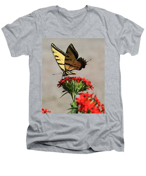 Men's V-Neck T-Shirt featuring the photograph Butterfly And Maltese Cross 1 by Aaron Aldrich