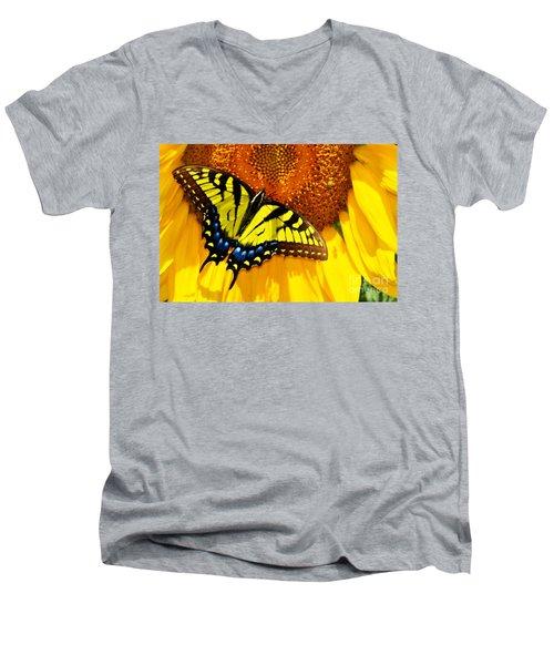 Butterfly And The Sunflower Men's V-Neck T-Shirt
