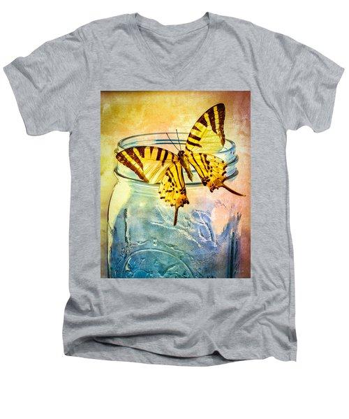 Butterfly Blue Glass Jar Men's V-Neck T-Shirt by Bob Orsillo