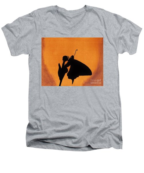 Men's V-Neck T-Shirt featuring the drawing Butterfly by D Hackett