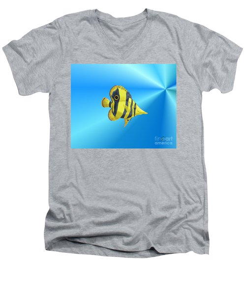 Men's V-Neck T-Shirt featuring the digital art Butterfly Fish by Chris Thomas