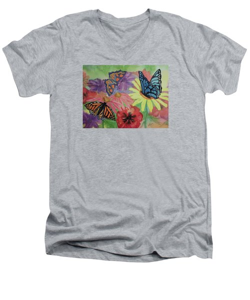 Men's V-Neck T-Shirt featuring the painting Butterfly Garden by Ellen Levinson