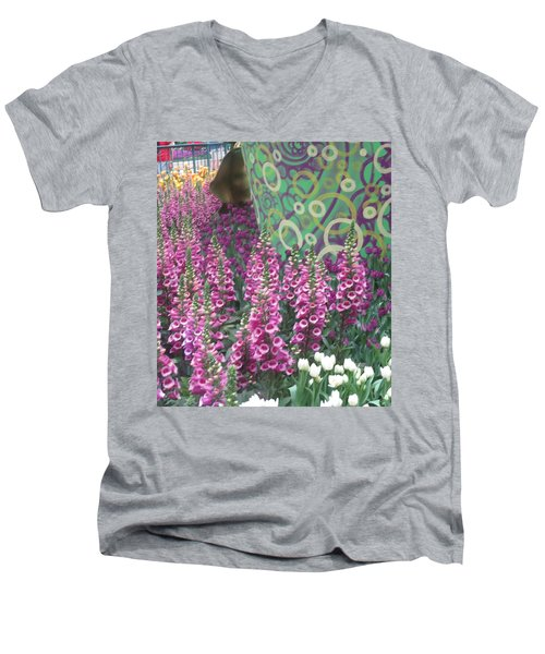 Men's V-Neck T-Shirt featuring the photograph Butterfly Garden Purple White Flowers Painted Wall by Navin Joshi