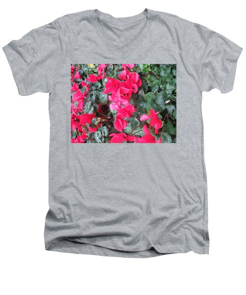 Men's V-Neck T-Shirt featuring the photograph Butterfly Garden Red Exotic Flowers Las Vegas by Navin Joshi