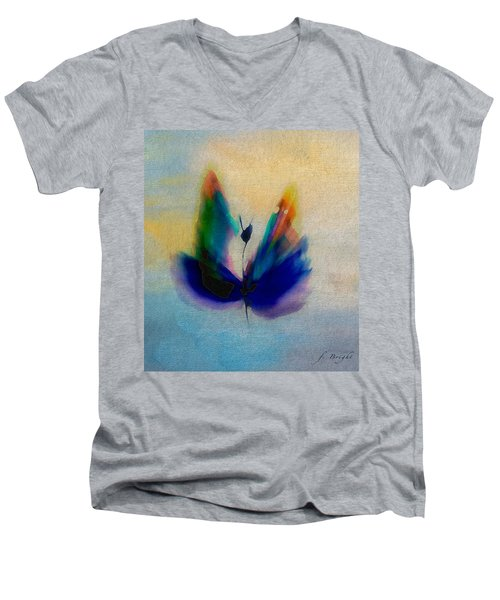 Men's V-Neck T-Shirt featuring the digital art Butterfly In Color by Frank Bright