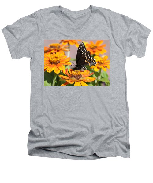 Butterfly In Living Color Men's V-Neck T-Shirt