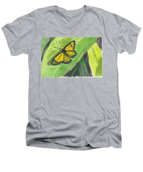Men's V-Neck T-Shirt featuring the painting Butterfly In Vermont Corn Field by Donna Walsh