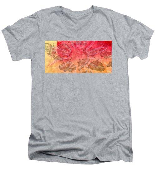 Men's V-Neck T-Shirt featuring the digital art Butterfly Letterpress Watercolor by Kyle Hanson
