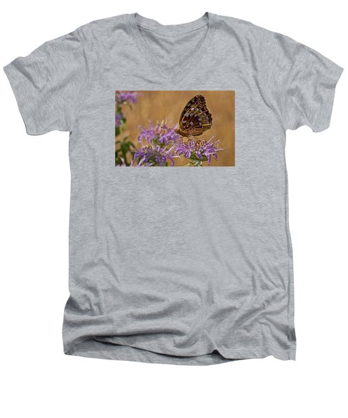 Butterfly On Bee Balm Men's V-Neck T-Shirt by Shelly Gunderson