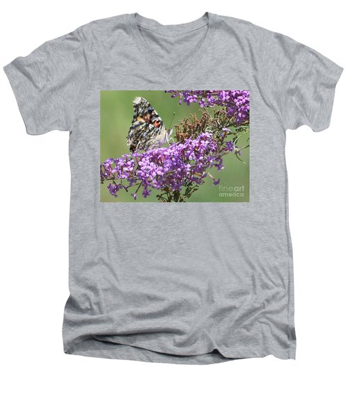 Men's V-Neck T-Shirt featuring the photograph Painted Lady Butterfly by Eunice Miller