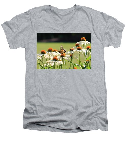 Butterfly On Echinacea Men's V-Neck T-Shirt
