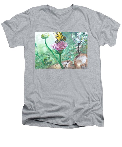 Butterfly On Flower  Men's V-Neck T-Shirt