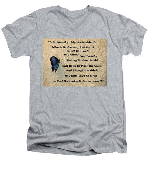 Butterfly Poem Men's V-Neck T-Shirt by Aimee L Maher Photography and Art Visit ALMGallerydotcom