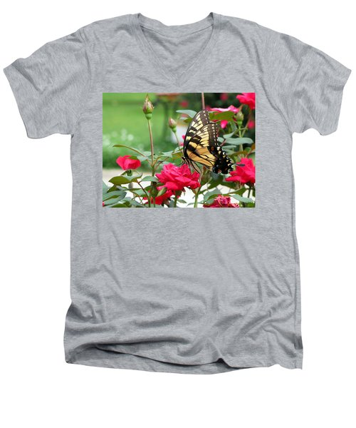 Men's V-Neck T-Shirt featuring the photograph Butterfly Rose by Greg Simmons