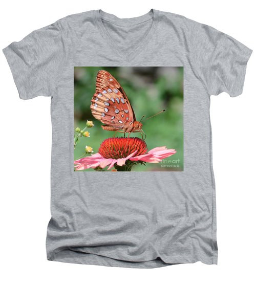 Butterfly Sipping A Coneflower Men's V-Neck T-Shirt