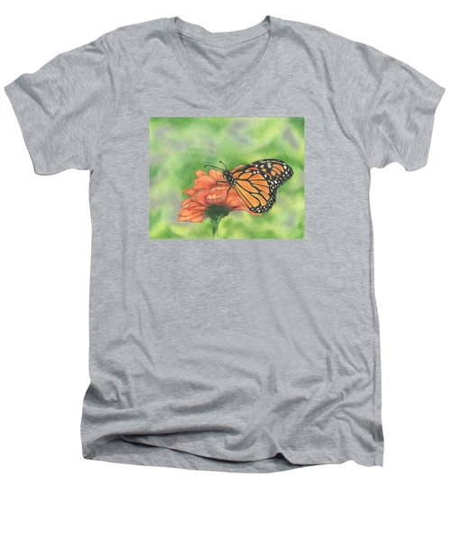 Butterfly Men's V-Neck T-Shirt by Troy Levesque
