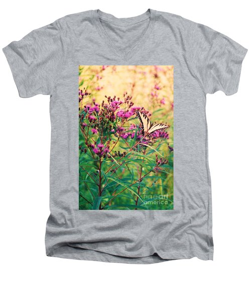 Men's V-Neck T-Shirt featuring the painting Butterfly Wildflower by Eric  Schiabor