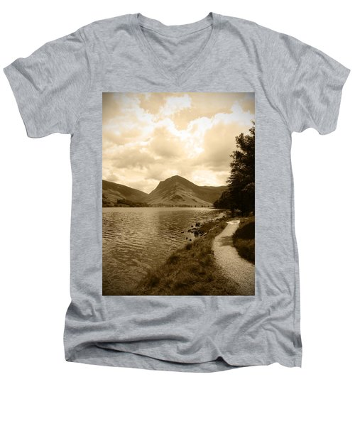 Buttermere Bright Sky Men's V-Neck T-Shirt by Kathy Spall