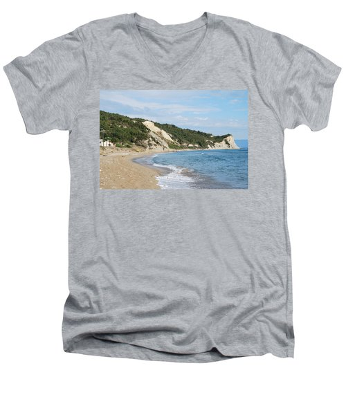 Men's V-Neck T-Shirt featuring the photograph By The Beach by George Katechis