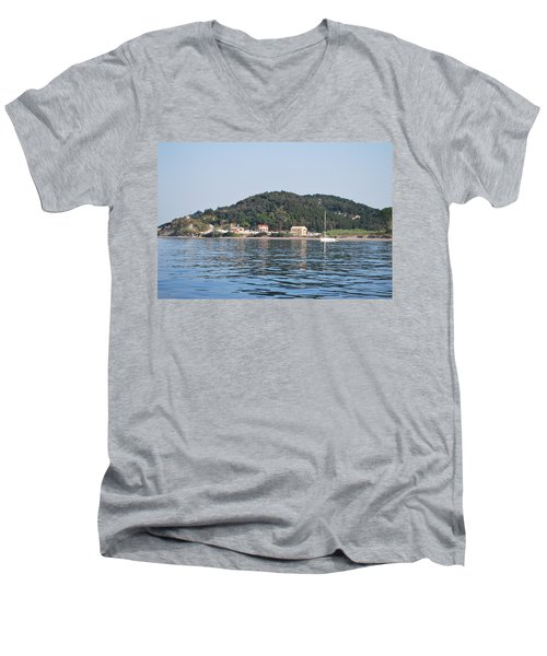 Men's V-Neck T-Shirt featuring the photograph By The Sea by George Katechis