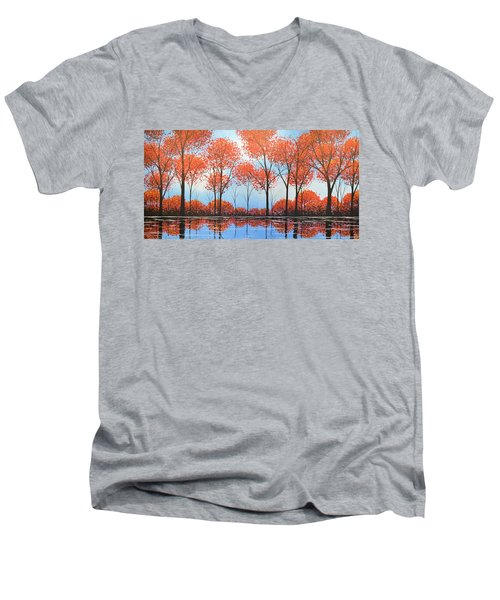 Men's V-Neck T-Shirt featuring the painting By The Shore by Amy Giacomelli