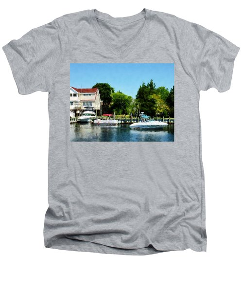 Men's V-Neck T-Shirt featuring the photograph Cabin Cruisers by Susan Savad