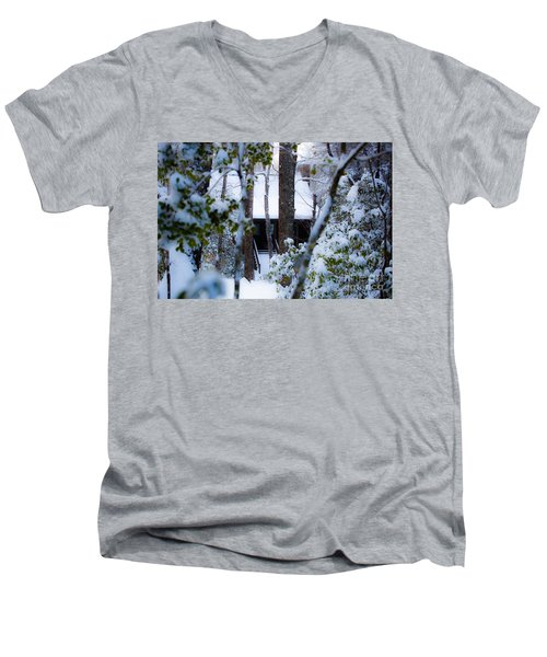 Men's V-Neck T-Shirt featuring the photograph Cabin In The Woods by Donnie Whitaker