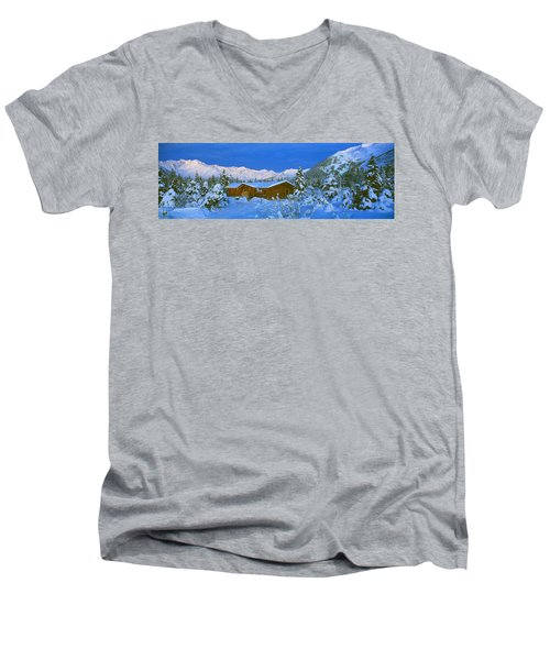 Cabin Mount Alyeska, Alaska, Usa Men's V-Neck T-Shirt