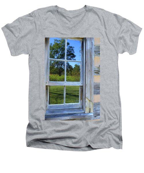 Men's V-Neck T-Shirt featuring the photograph Cabin Reflections by Larry Bishop