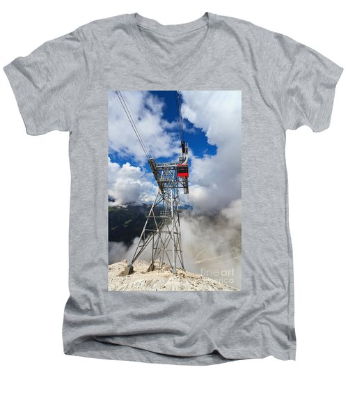 cableway in Italian Dolomites Men's V-Neck T-Shirt